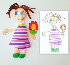 Doll with a flower custom toy, personalized toy made after kids drawing, soft doll, gift idea, birthday gift, gift for girls, custom doll This is a personalized toy made after a kids drawing. This is an unique and special toy and it could be a nice memory toy for you, for your child,