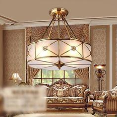 Brass Pendant Lamp, Four Lights, Vintage Total Copper Glass (PU190004) – AUD $ 327.46