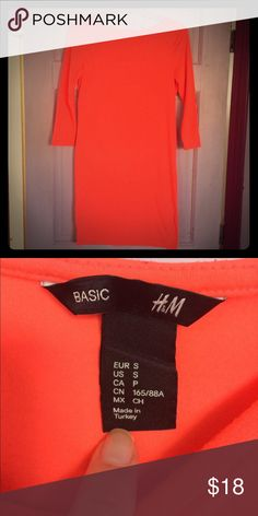 H&M Basic Bright Orange Mini Dress Good condition. Cute for summer with sandals. H&M Dresses Mini