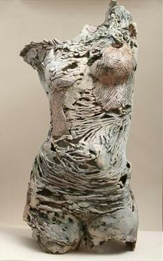 """Pauline Lee """"pearl"""" paper clay textured and pierced 55cm x 30cm http://www.paulineleeceramics.com/index.aspx?sectionid=740329  This sculpture reminds me of the assignments we had of studies . This piece interested me because of the wear on the figure and the texture that can be added into drawings to give more weight."""