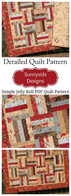Simple Quick Easy Jelly Roll Quilt Pattern, Derailed Quilt Pattern, Beginner Quilt Pattern, Traditional Winter Fall Throw Quilt Pattern, Pre-cut Quilt Pattern by Sunnyside Designs #quilts #nursery #babygifts