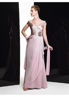 Buy discount Fabulous Stretch Satin & Chiffon Off-the-shoulder Neckline Floor-length Sheath Mother Of The Bride Dress at Magbridal.com
