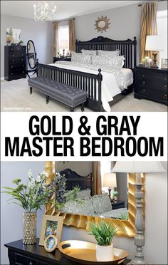 Gold and Gray Master Bedroom Makeover. Love this new take on grays and yellows. LOVE all of the artwork too!!