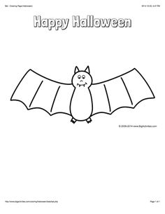 Halloween coloring page with a skeleton, bats, and the