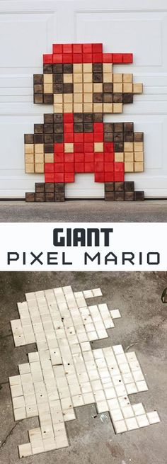 I love it when I can combine woodworking and geeky things. Today I'm sharing how to build a giant Mario pixel wall art.