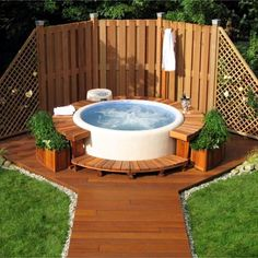 """above ground hot tub ideas for your backyard this design idea works great for a """"Lazy Spa"""" inflatable portable hot tub"""