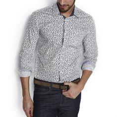 Chemise imprimée Ajustée Fond Blanc homme – la mode homme sur Jules.com