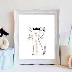 Hello kitty, cat illustration-Nursery art set-Nursery art collection-cat nursery art prints-modern cat illustration for kids wall art