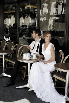 Okay I just love the idea of photos outside a cafe/bistro something :) Not necessarily in the dress/tux