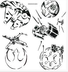 Star Wars Sleeve design by Xistianna Star Wars Fan Art, Star Wars Stencil, Star Trek, Star Wars Tattoo, Star Tattoos, Sleeve Tattoos, Game Tattoos, Dibujos Tattoo, Desenho Tattoo