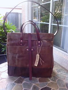 Waxed Duck Canvas Oilcloth Tote Urban Shopper Bag Large Leather Filson History | eBay