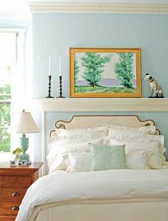 """Benjamin Moore    """"BIRD'S EGG""""      2051-60  """"I've always liked warm and cozy dining rooms and living rooms, but in the bedroom I go towards cool and airy.  That  to   me   seems   restful,   sleep-inducing.    My own bedroom is painted pale blue, with touches of sliver gray and coral."""" -Miles Redd"""