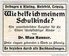 Original-Werbung/ Anzeige 1911 - DR.MAX BANNER / WIE HELFE ICH MEINEM SCHULKINDE / VELHAGEN & KLASING  - ca. 55 x 45 mm