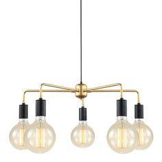 Lampa sufitowa MALENE złota 5x40W Italux MDM3386/5 BK+GD