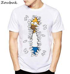 New Fashion Homer Simpson Hoju T shirt Men Brand Clothing Hip Hop Men TShirt Short Sleeve Anime High Quality T-Shirt . Cool Shirts, Casual Shirts, Tee Shirts, Homer Simpson, Shirt Print Design, Shirt Designs, T Shirt Painting, Painted Clothes, Hip Hop