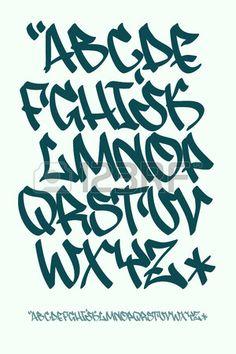 Fuente vectorial en estilo escrito mano graffiti Las letras may sculas del alfabeto  Foto de archivo