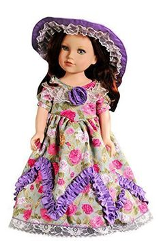 American Girl Doll Clothes Lavender Style Retro Party Dress Long Skirt + Hat Fit AG Dolls,Journey Girl Dolls - Toys 4 My Kids
