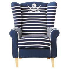 Poltrona blu marina a righe in cotone per bambini Pirate