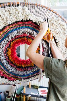 Tammy Kanat by Emily Weaving Weaving Loom Diy, Weaving Art, Tapestry Weaving, Hand Weaving, Circular Weaving, Weaving Textiles, Weaving Projects, Woven Wall Hanging, Yarn Crafts