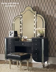 Black W Crystals Upholstered Vanity Mirror Bench Contemporary Bedroom Furniture