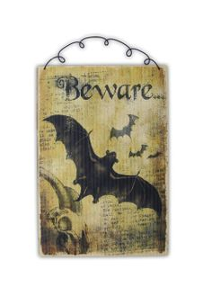 Decoupage - Happy Halloween Bats Wood sign decoration new with tag BEWARE goth