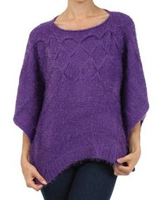 Take a look at this Purple Knit Cape-Sleeve Top by Michael K on #zulily today! $48 !!