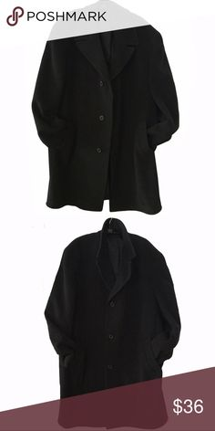 """Jones NY men's charcoal heather wool over coat Elegant nonchalant single breasted car coat overcoat, charcoal heather 50"""" pit to pit wide around; 39"""" long size, tag reads 44L Jones New York Jackets & Coats"""