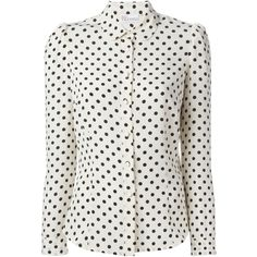 Red Valentino Polka Dot Blouse found on Polyvore featuring tops, blouses, shirts, silk blouses, long sleeve blouse, black blouse, ivory silk blouse and black peter pan collar shirt