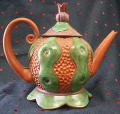 TEA POT, signed Sandi Pierantozzi, Ceramic Handmade, Unique, Perfect ...