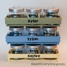 """Love this """"money Jars"""". 3 jars per child, One marked """"spending"""", another marked """"saving"""" and last but not least """"Tithing"""". I think this would be a great way to teach kids about money management at a young age. So doing this with my kids.... save money on babies, #SaveMoney #Money"""
