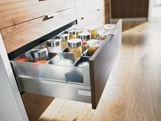 Need this in my life, Kitchen drawer divider, #OrganisemyLife #Hardwood #modern #style  Always different, always unique. Blum Pull Out System Tandembox Intivo By Hafele