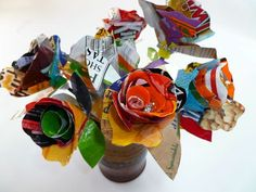 Upcycled 12 Flower Bouquet by lousupcycles on Etsy, $60.00 Fused Plastic, Plastic Flowers, Arts Ed, Recycled Art, Bowser, Arts And Crafts, Bouquet, Invitations, Awesome