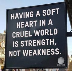 Having a soft heart in a cruel world is strength.. Brave Quotes, Wise Quotes, Quotable Quotes, Motivational Quotes, Inspiring Quotes, Amazing Quotes, Great Quotes, Best Quotes Of All Time, Quote Of The Day