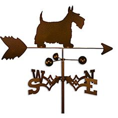 This weathervane is handmade of strong 14-gauge steel with a sealed ball bearing in the wind cups. The weathervane is coated with copper-colored powder coat paint, and features a Scottish terrier dog.