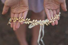 Simple Brass Gold Leaf Crown