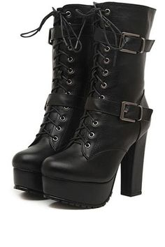 Black Faux Leather Lace-up Buckle Heel Booties