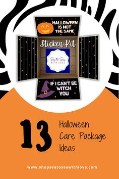 Halloween care packages are a great way to stay connected with your loved one during a military deployment. Visit here to check out hundreds of care package ideas and themes in Sea to Sea with Love's shop! If you are looking for an easy way to decorate your care package, then this is the shop for you! Get inspired to create your own DIY care package with sticker kits. You will love how easy they are to use. These are also perfect for college and long distance packages too! Long Distance Packages, Halloween Care Packages, Deployment Care Packages, Military Deployment, Create Your Own, Etsy Seller, College, Packaging, Kit