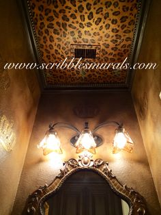 Modern Masters Metallics in Olympic Gold, Copper and Antique Bronze on leopard ceiling and RDS crown stencil.