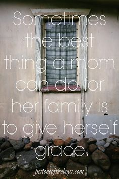 How backing into her husband's car taught this mom the most important lesson of all... Sometimes the best thing a mom can do for her family is to give herself grace. ~ justoneoftheboys.com