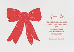 Big Red Bow (Invite)  by Linda and Harriett for Paperless Post. Send custom online holiday party invitations with our easy-to-use design tools and RSVP tracking. View more holiday invitations on paperlesspost.com. #bow #ribbon #wrapping #christmas #gift