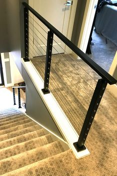 The express handrail comes precut at with both ends open. Cable Stair Railing, Loft Railing, Modern Stair Railing, Stair Handrail, Staircase Railings, Modern Stairs, Banisters, Steel Stairs Design, Railing Design