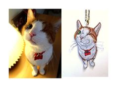 Custom Pet Necklace, Hand Drawn Pet Portrait, Wearable Art, Pet Charm, Shrink Plastic Jewelry,. $43.00, via Etsy.