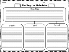 Main Idea and Details Organizer FREEBIE