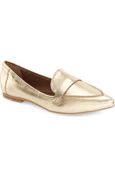 Nordstrom Topshop - Topshop 'Kimi' Loafer (Women) available at Women's Loafer Flats, Leather Loafer Shoes, Women's Loafers, Fall Flats, Southern Fashion, Metallic Flats, Travel Shoes, Gold Leather, Real Leather