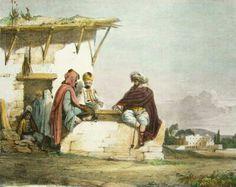Algérie - Peintre Britannique WYLD William (1806-1889) et Peintre Français LESSORE Emile (1805-1876), Aquarelle 1835, Titre : Jeu de dames à Alger