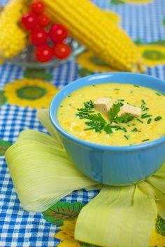 Kukorica krémleves tofukockákkal - laktózmentes recept Tofu, Thai Red Curry, Cantaloupe, Fruit, Ethnic Recipes