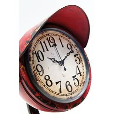 Ρολόι Τοίχου Scooter-Light Red Μεταλλικό επιτραπέζιο ρολόι, με την όψη του φαναριού ενός σκούτερ σε κόκκινο χρώμα τεχνητή παλαίωση. Μπαταρία LR6-1xAA (εκτός). Union Jack, Pocket Watch, Clock, Wall, Red, Accessories, Home Decor, Style, Watch