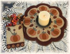 Autumn Beauty Candle Mat/Penny Rug Wool Kit with Paper Pattern | eBay