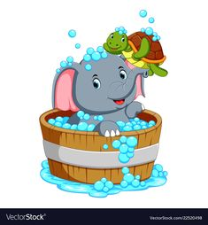 An elephant is bathing and playing with a turtle vector Art Drawings For Kids, Colorful Drawings, Drawing For Kids, Colorful Pictures, Cartoon Elephant, Cartoon Dog, Cartoon Images, Fairy Wallpaper, Disney Wallpaper