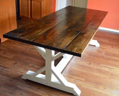 Rustic Farm House Table with Painted Base by RnBWoodWorks on Etsy https://www.etsy.com/listing/221390834/rustic-farm-house-table-with-painted